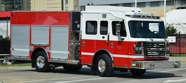 "2013 Rosenbauer Commander<br /> 1500/750<br /> S/N # 1629414<br /> <br /> Now serves Bristol Motor Speedway, TN and Charlotte Motor Speedway, NC as ""Engine 343""<br /> <br /> Displayed at SAFRE 2014<br /> <br /> Andrew Messer Photo"