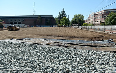 Construction is underway at the location where Siskiyou Hall once stood on the CSUC campus Wednesday July 18, 2018. (Bill Husa -- Enterprise-Record)