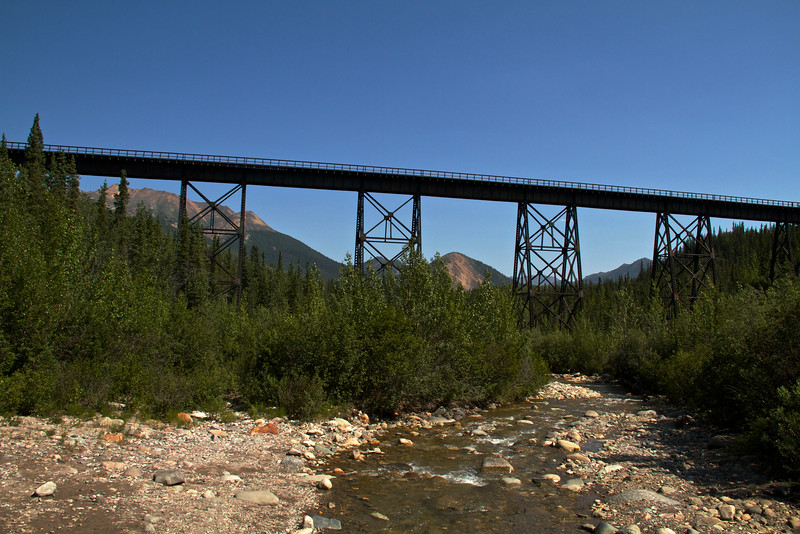 The Alaska Railroad bridge.  It was fun and adventurous crossing on the bridge before the Park Service built the bridges over Riley Creek.  The creek isn't always this low.