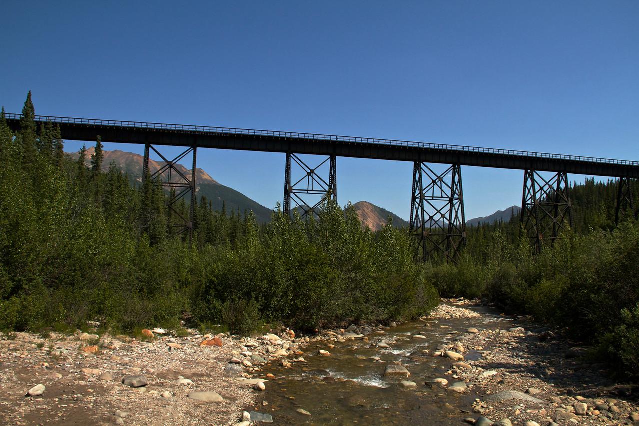The Alaska Railroad bridge.  It was fun and adventurous crossing on the bridge before the Park Service built the bridges over Riley Creek.  The creek isn't always this low.