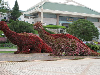Expo Garden - dinosaurs made with begonias.