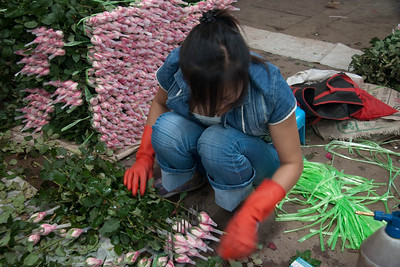 Flower sales lady uses the wire contraption which is attached to a wooden board on the bottom to organize the stems into 20stems/bunch, she then wraps them with nylon cords and put them onto the cart behind her so that they are very orderly.