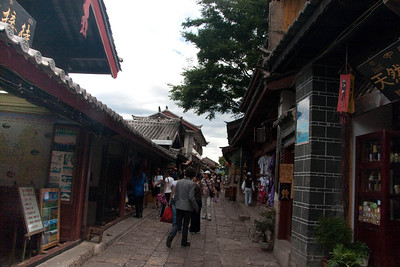 Streets in Old Town.  Both sides are lined with gift shops. A lot of times, the shop-owners live above the stores.
