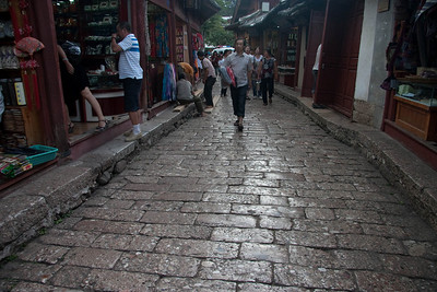 Stone pavement in Old Town.It would be hard to walk on these streets with high heel shoes.