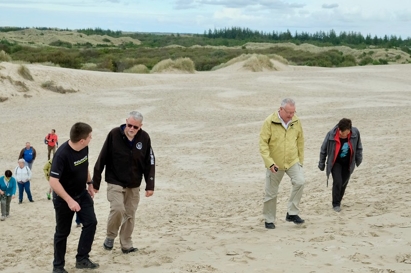 North of Skagen, at Grenen, there are huge, wandering sand dunes. The large ones may be as much as 10 stories tall. The sand is extremely fine, more like dust than the coarse sand we know. That is why they may move up to 15 metres per year.