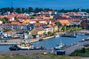 A view of the port and small harbor in Fredericia, Denmark.