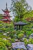 A Japanese Garden and Chinese Tower in the Tivoli Gardens, Copenhagen, Denmark.