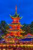 The Chinese Tower illuminated at night in the Tivoli Gardens, Copenhagen, Denmark.
