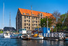 Building architecture as viewed along the canals of Copenhagen, Denmark.