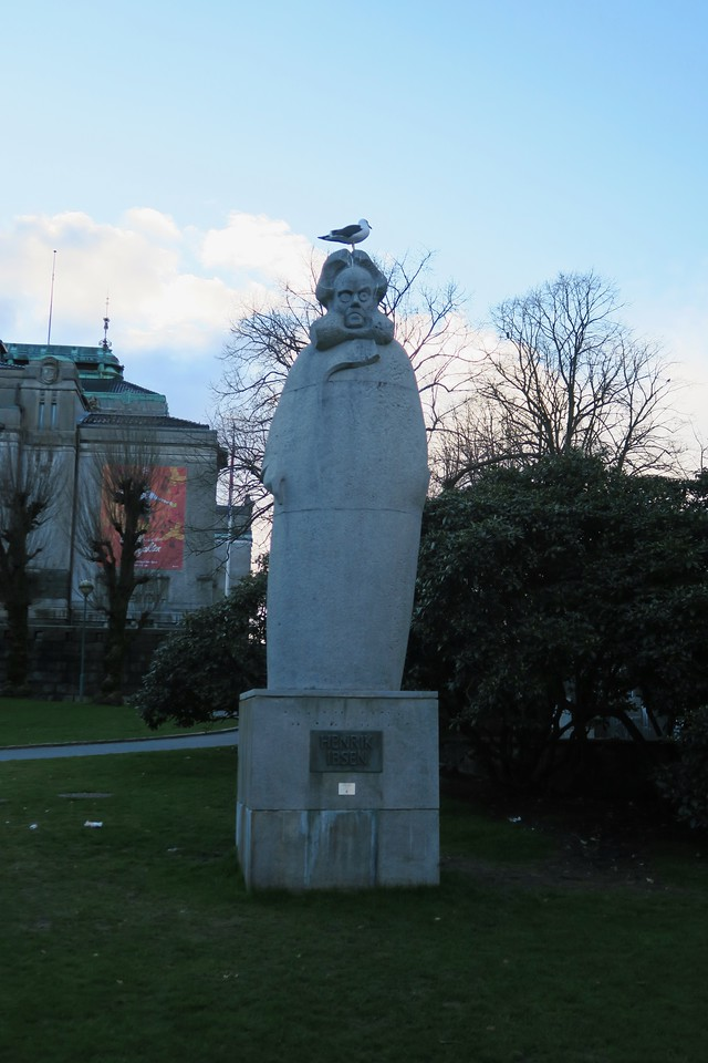 """Ibsen with Seagull"" Bergen, Norway"