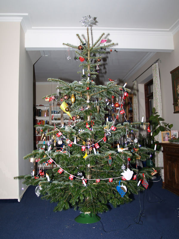 Our Christmas tree in 2005. It has to stand away from the walls because in Denmark we have the tradition of dancing around the Christmas tree.