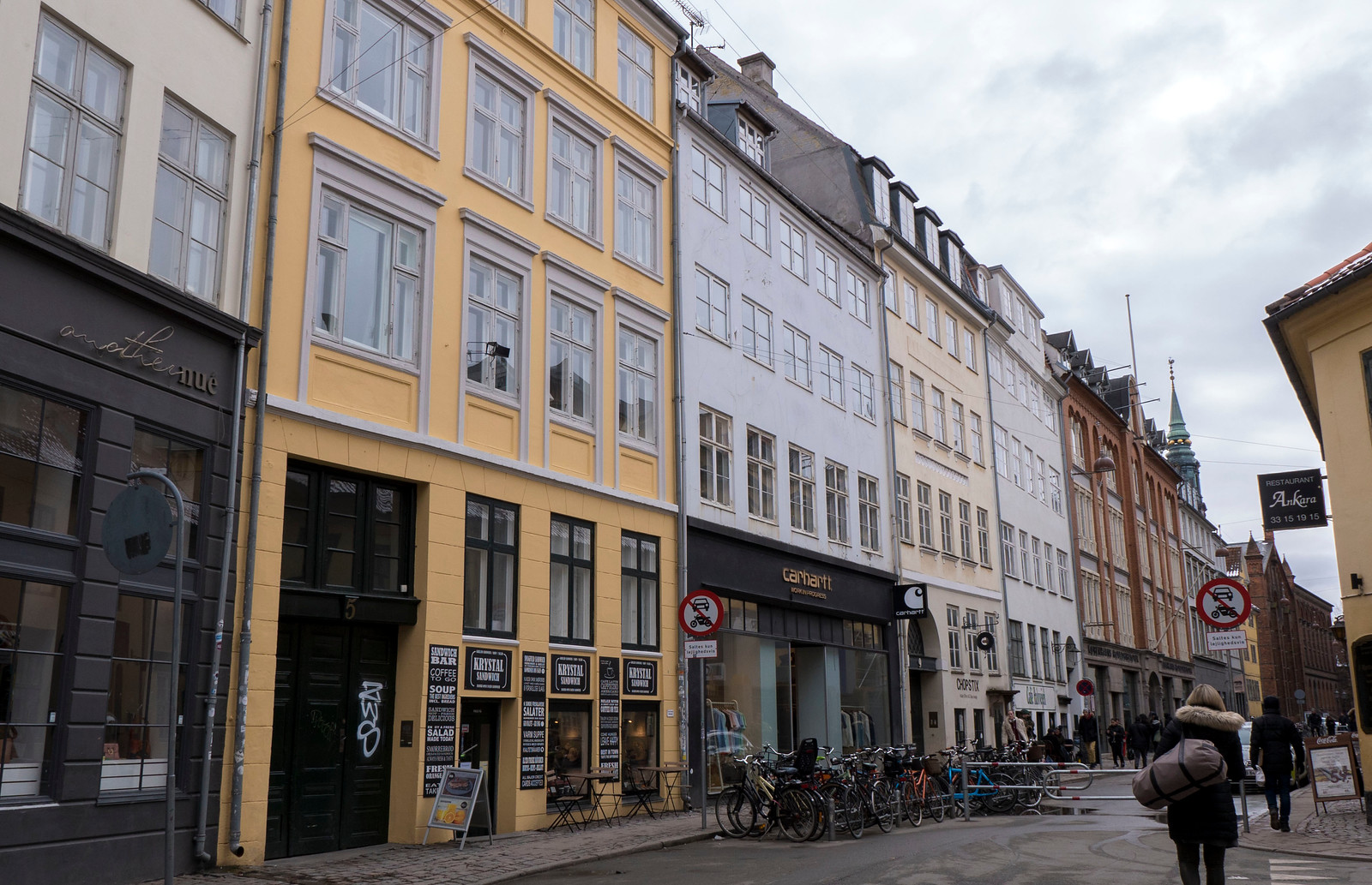 Indre By neighborhood - downtown Copenhagen - Copenhagen travel guide - Rows of colorful houses at Stroget