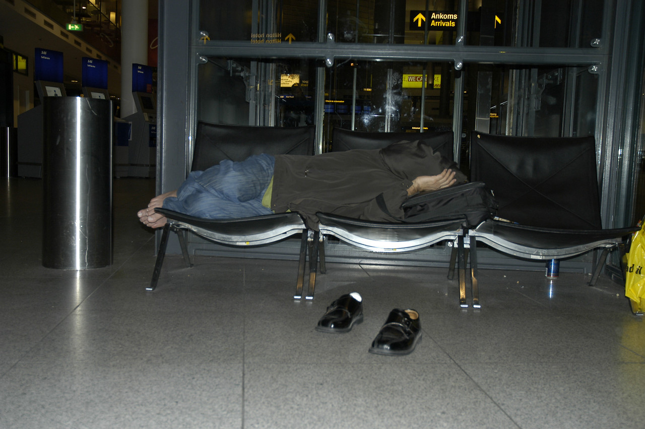 Copenhagen Airport: sleeping rough at the airport. A good way to experience the hardships of the homeless people around the world!