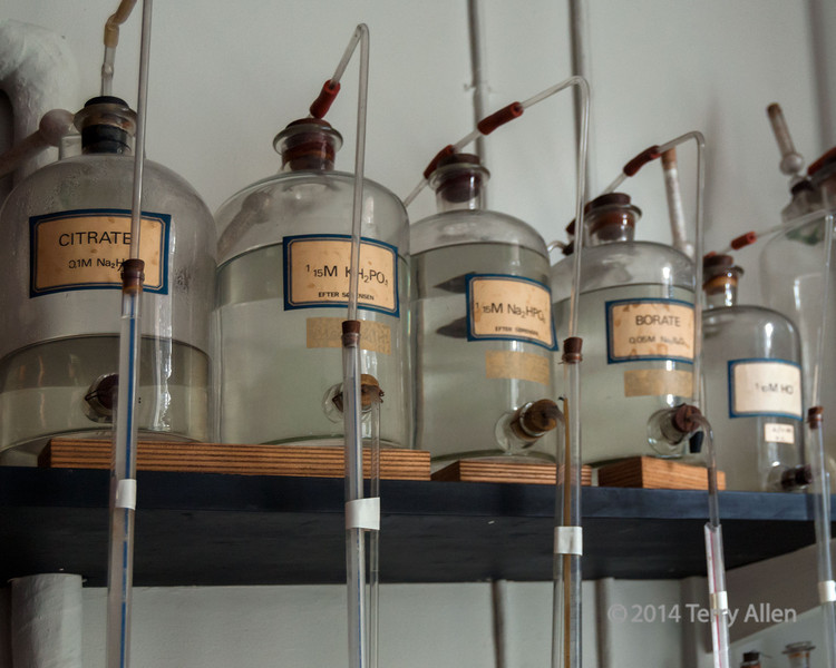 Bottle of acid and base solution, Carlsberg Laboratory (1875), where the concept of pH was discovered, Copenhagen, Denmark<br /> <br /> How to make pure yeast,, which started the modern beer industry, was also discovered here.