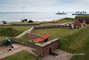 Scandines ferries heading towards Sweden on the horizon, seen from Kronborg Castle, Helsingor, Denmark<br /> <br /> The distance from Denmark to Sweden is only 4 km at this point and for over 400 years Kronborg Castle guarded the entrance to the Baltic sea and extracted a toll from all shipping.