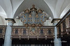 Organ pipes, Kronborg Castle chapel, Helsingor. Denmark<br /> <br /> There was a disastrous fire in 1629 and the Chapel was the only building the escaped the fire.   The original altar, gallery, and pews,  carvings and painted panels were preserved.