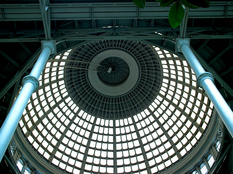 The dome above the indoor winter garden.