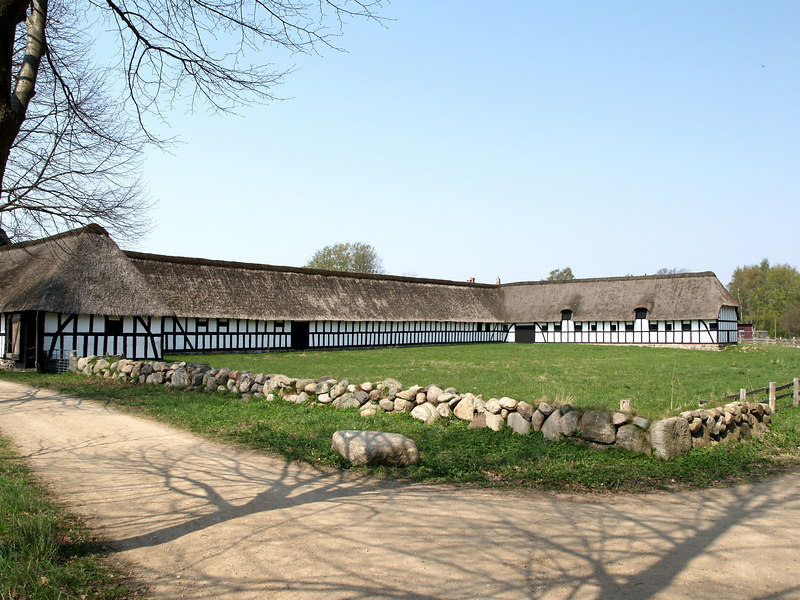 Demesne Farm, from Fjellerup in Djursland, Eastern Jutland. 17th-century barn, 18th-century stables, dwelling house built in 1752.