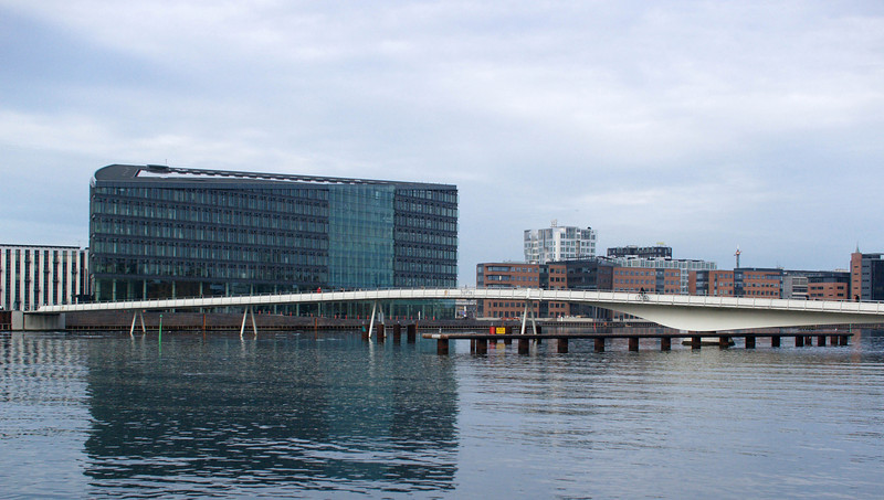 There's a pedestrian and bicycle bridge over Copenhagen harbor.
