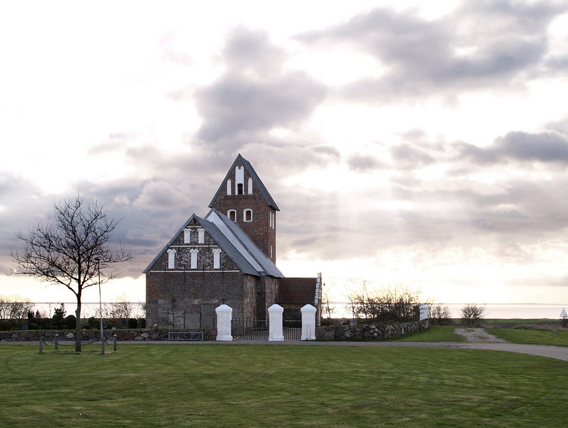 A church near the North Sea coast. The dyke can be seen in the background.