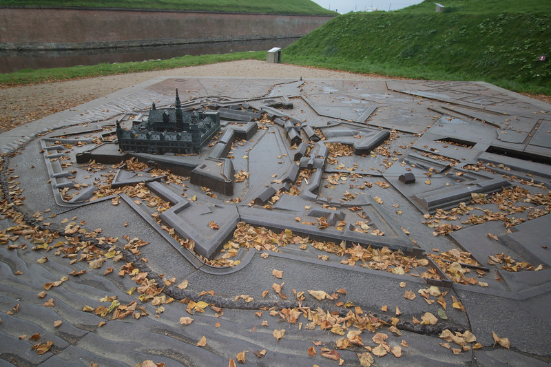Model of the massive fortifications around Kronborg Castle, Helsingør