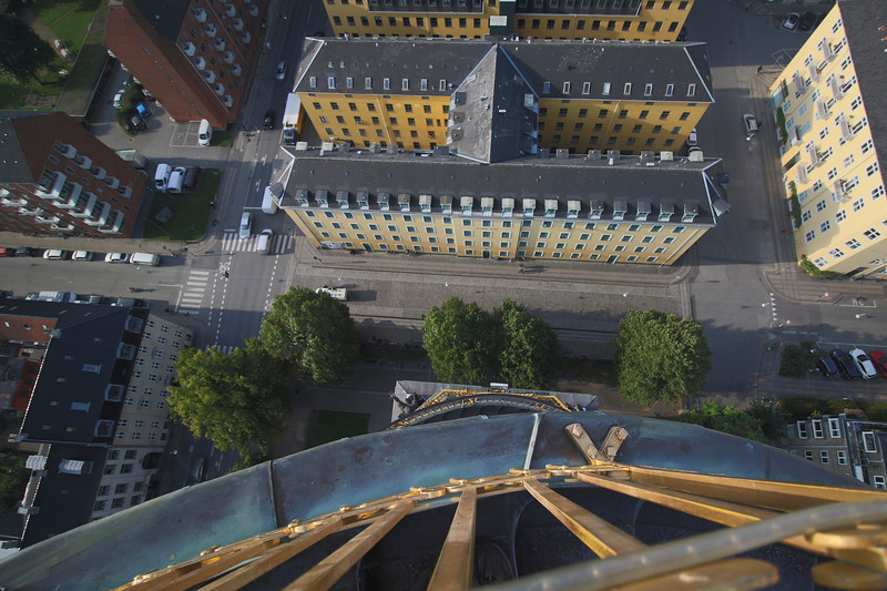 The view down off the spire, note my feet at the bottom