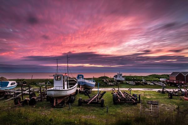 Old harbor sunset