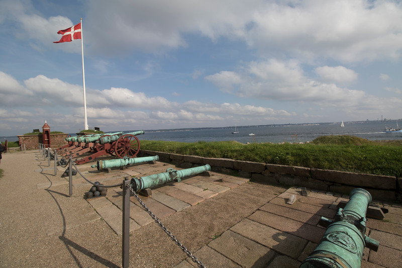 Cannons pointed at Sweden in the distance