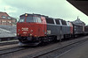 DSB MZ1407 pauses with a small freight at Vejle on 27 May 1990