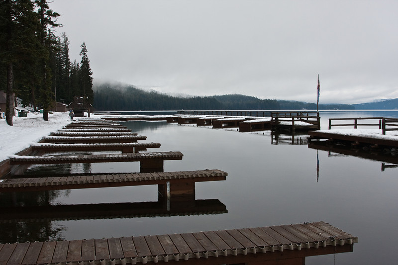 The marina at Odell Lake in the central Oregon Cascades