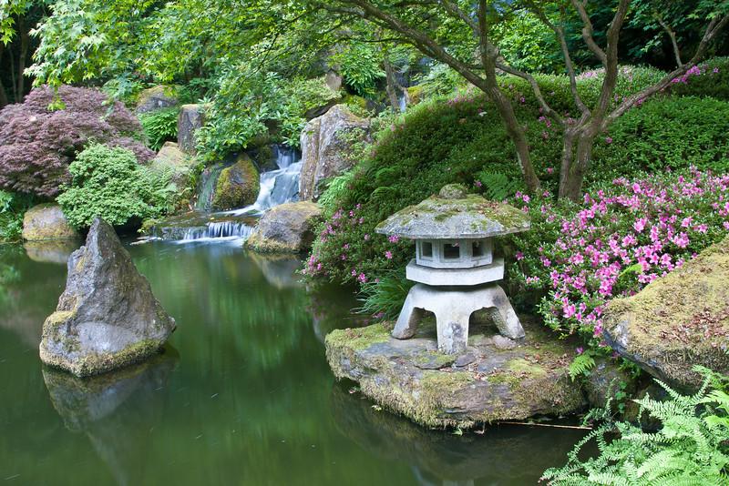 A lantern in the Strolling Pond Garden