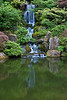 The waterfall and lower pond in the Strolling Pond Garden