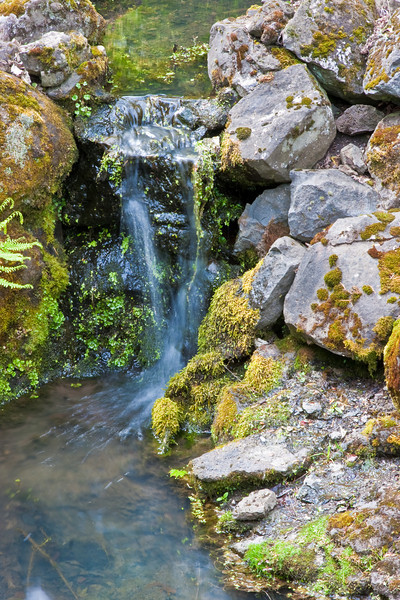 "A tiny waterfall at the Elk Rock Garden at <a href=""http://www.diocese-oregon.org/theclose/"">Bishop's Close</a> in Portland."