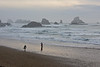 A lone surfer on a late autumn afternoon at Indian Beach, near Cannon Beach on the Oregon coast.