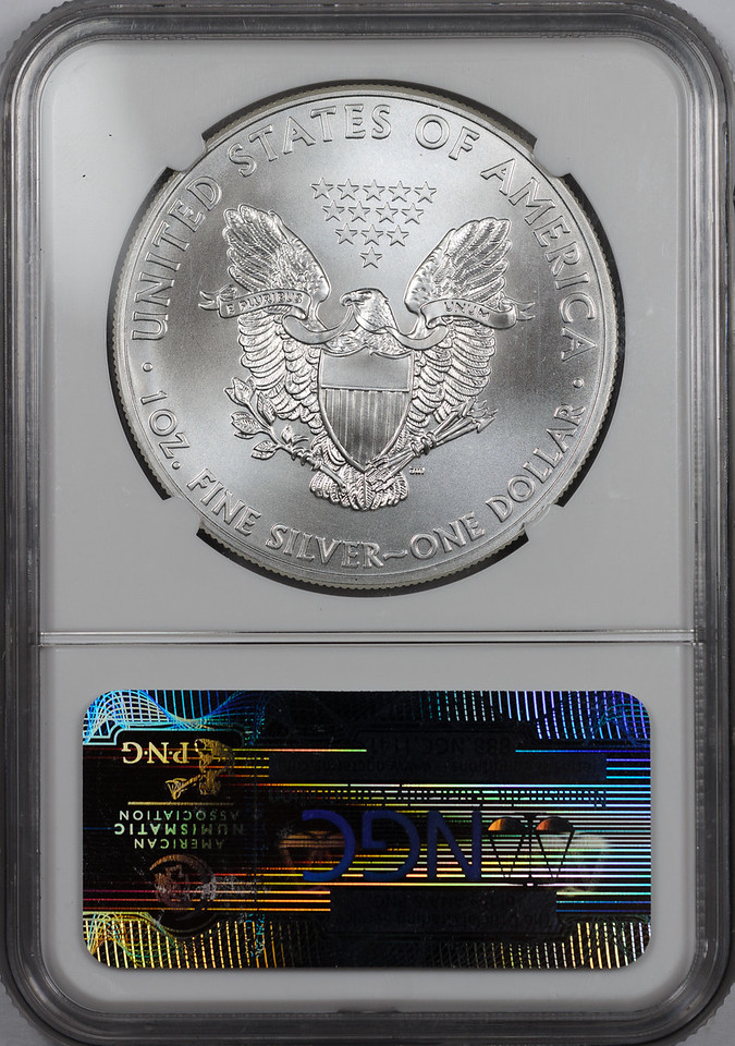2012 W BULLION COIN - SILVER EAGLE NGC MS70 Reverse