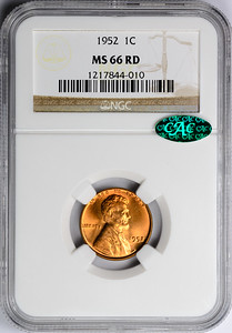1952 CENT - LINCOLN, WHEAT NGC MS66 RED CAC Obverse