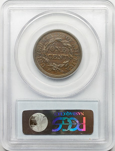 1844 CENT - CORONET, BRAIDED HAIR PCGS XF40 BROWN CAC Reverse