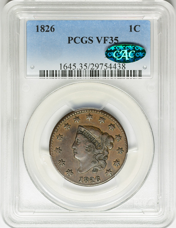 1826 CENT - CORONET PCGS VF35 CAC Obverse