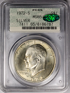 1972 S DOLLAR - EISENHOWER SILVER PCGS MS65 CAC Obverse