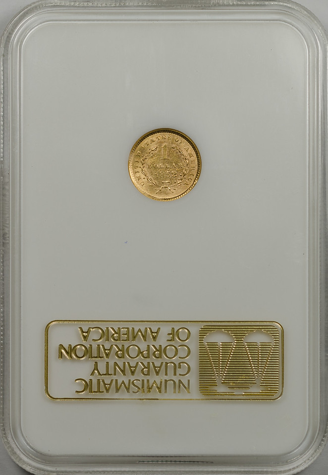 1852 GOLD DOLLAR TYPE 1 NGC AU55 CAC gold Reverse