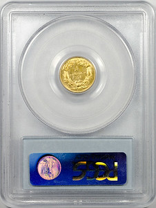 1874 GOLD DOLLAR - TYPE 3 PCGS AU58 CAC Reverse