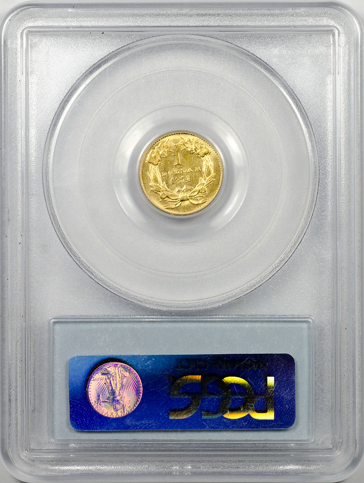 1874 GOLD DOLLAR - TYPE 3 PCGS AU58 CAC Reverse