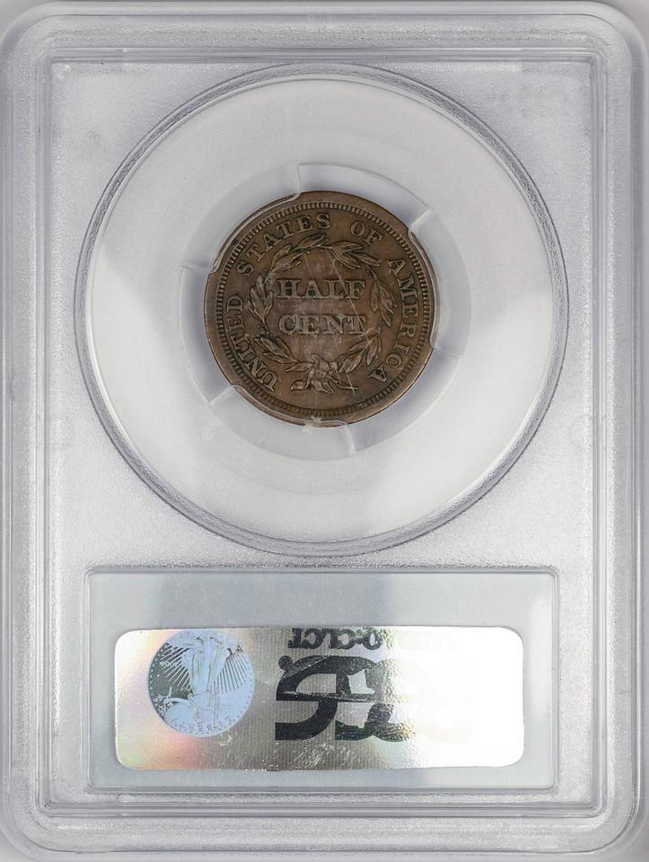 1854 HALF CENT - CORONET, BRAIDED HAIR C-1 PCGS AU50 BROWN CAC Reverse