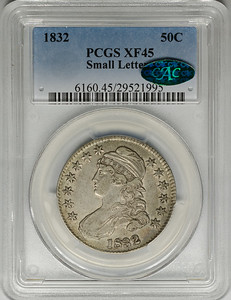 1832 HALF DOLLAR - CAPPED BUST, LETTERED EDGE SMALL LETTERS O-110 PCGS XF45 CAC Obverse