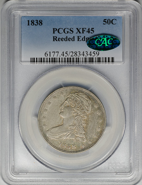 1838 HALF DOLLAR - CAPPED BUST, REEDED EDGE PCGS XF45 CAC Obverse