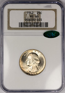 1942 QUARTER DOLLAR - WASHINGTON, SILVER NGC MS66 CAC Obverse