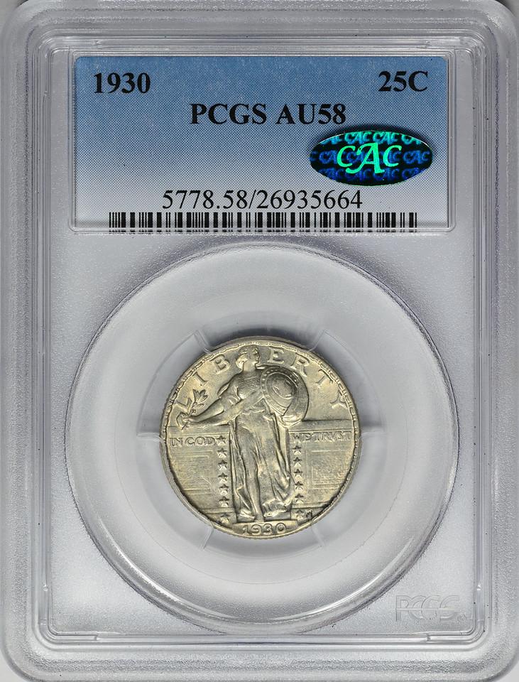 1930 QUARTER DOLLAR - STANDING LIBERTY, TYPE 2 PCGS AU58 CAC Obverse