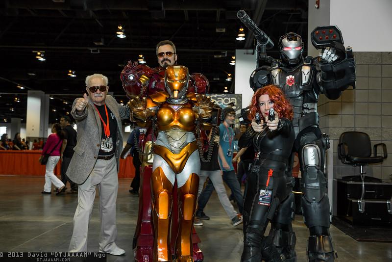 Stan Lee, Iron Man, Rescue, Black Widow, and War Machine