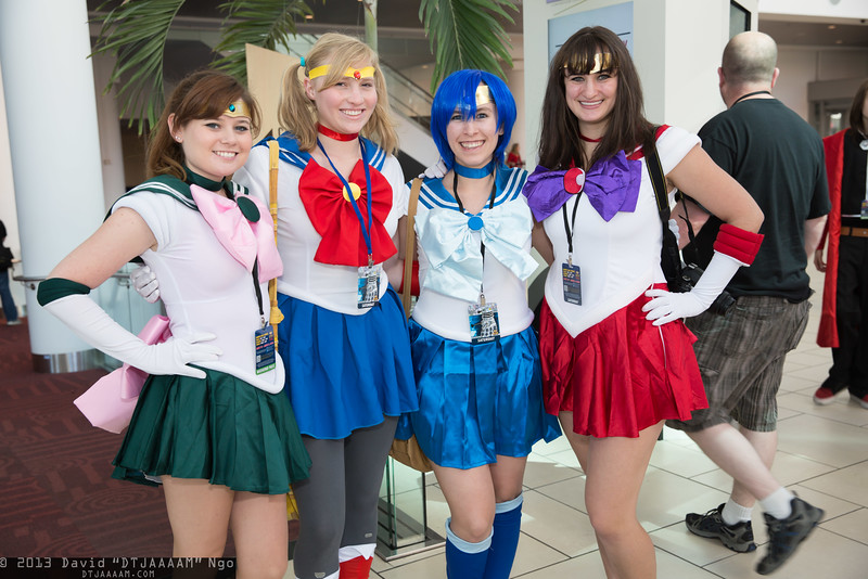 Sailor Jupiter, Sailor Moon, Sailor Mercury, and Sailor Mars