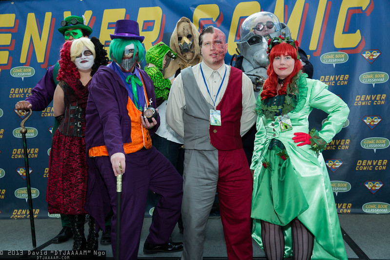 Riddler, Harley Quinn, Joker, Killer Croc, Scarecrow, Two-Face, Mr. Freeze, and Poison Ivy